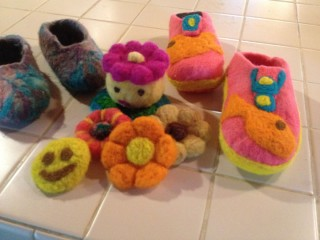 Felted booties and decorations