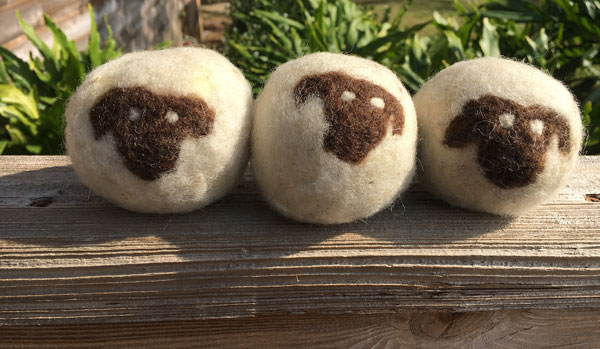 Needle-felted, sheep-faced dryer balls from Golden Acres Ranch Florida