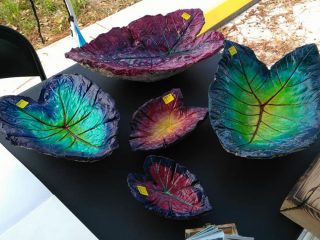 Concrete leaf bowls by Heather Ainsley